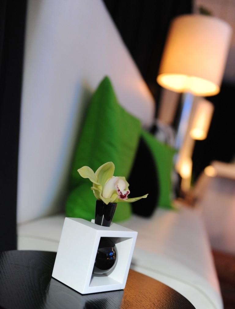 Party Lounge White Sofas Black and Green Pillows Evantine - Susan Beard