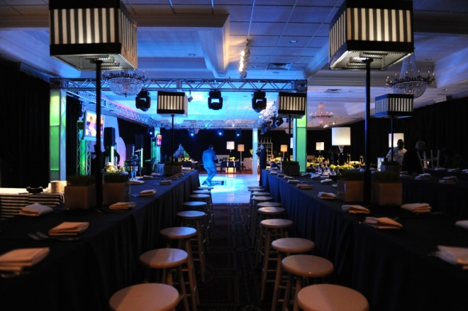 Sports Mitzvahs Kids Tables Bar Stools Black and White Theme