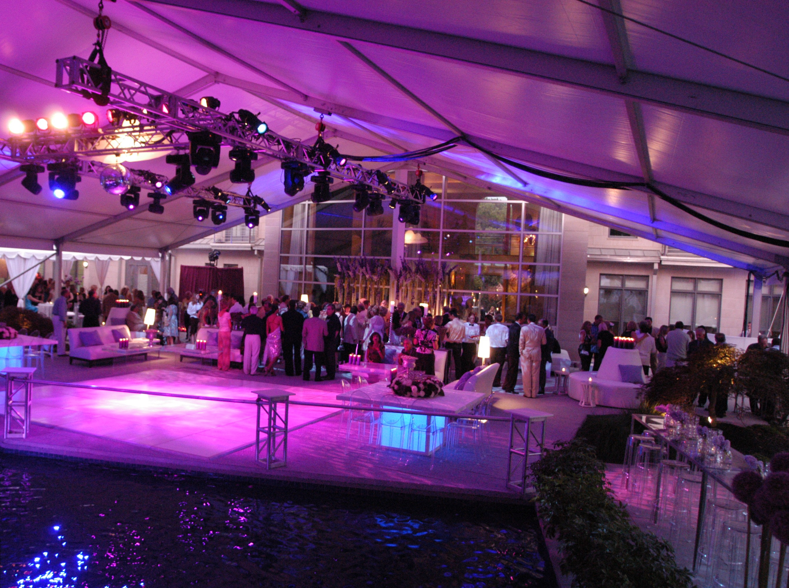 tents over pools outdoor parties in philadelphia suburbs cantilevered stages