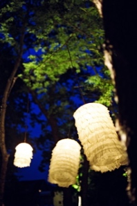 Delicate fabric lanterns were suspended from the trees to add a magical glow to the event as the sun faded from the sky.