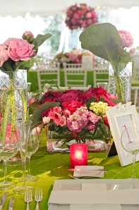 Hot Pink and Green Outdoor Weddings Tented Parties in Philadelphia Peonies Hydrangea