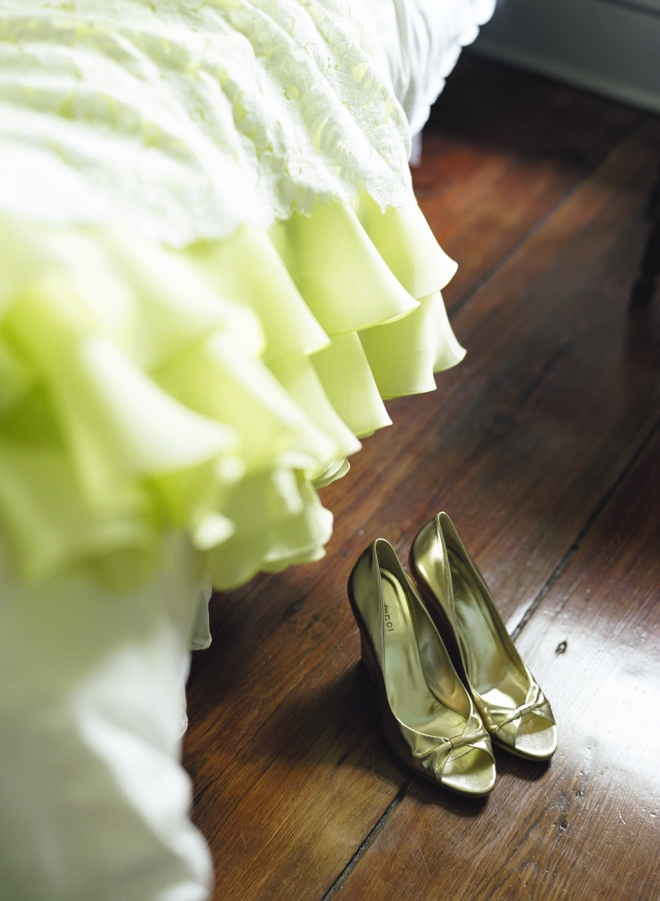 Yellow and white lace wedding gown gold gucci platform shoes