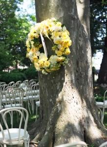 Yellow rose wreath on a tree wedding decor beach weddings