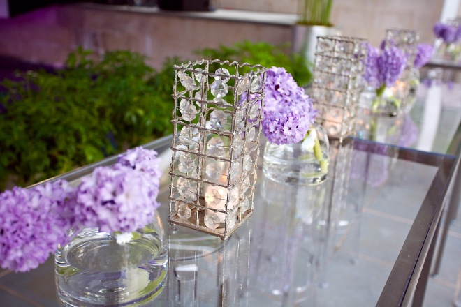 Lavender Hyacinth Mirror Tables Crystal Hurricanes