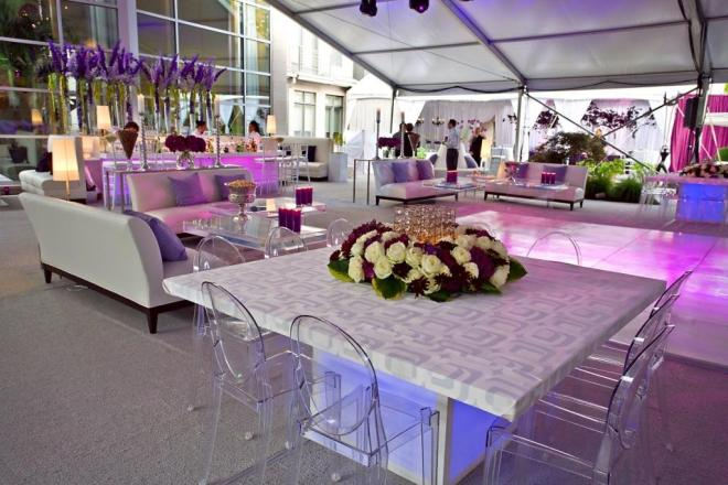 Upholstered Tables Ghost Chairs Purple Flowers Cocktail Seating