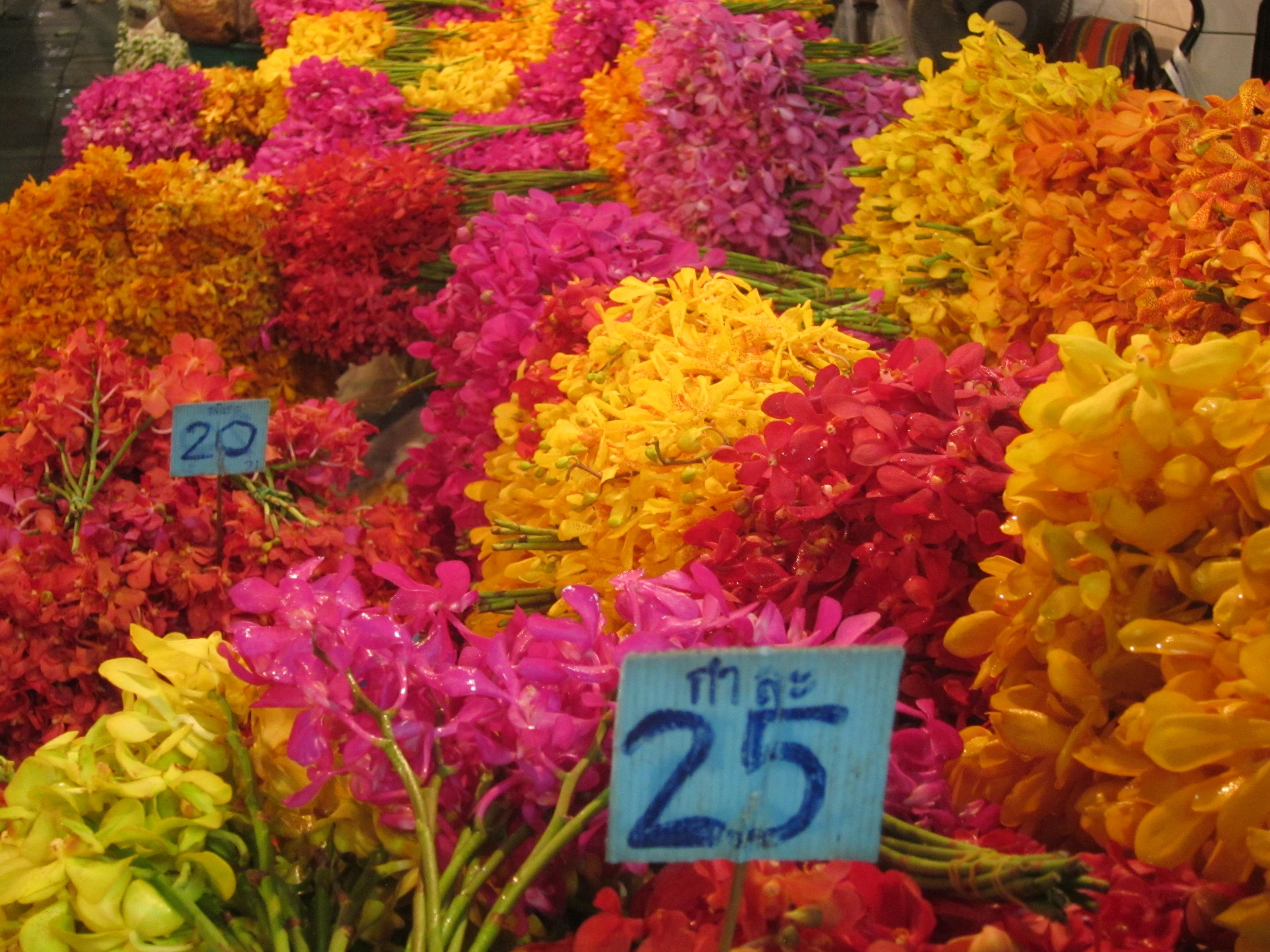 FLOWERS Night Flower Market in Bangkok Thailand