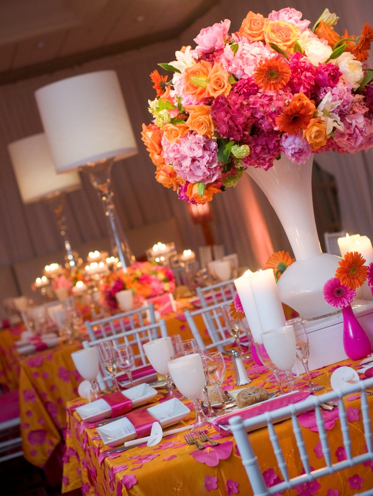 Real stories hot pink orange bat mitzvah for sydney for Pretty wedding table decorations