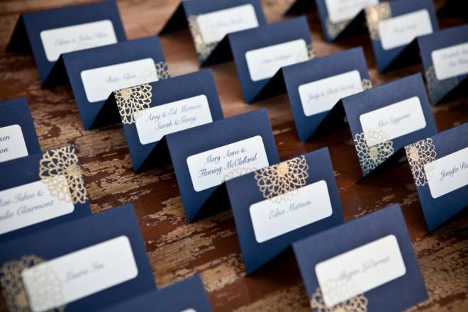 blue place cards with gold design from two paperdolls