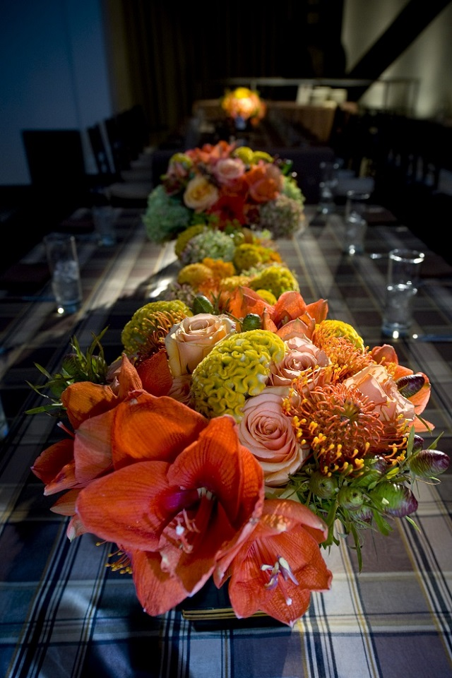orange flowers mitzvah themes evantine design phoenixville Foundry