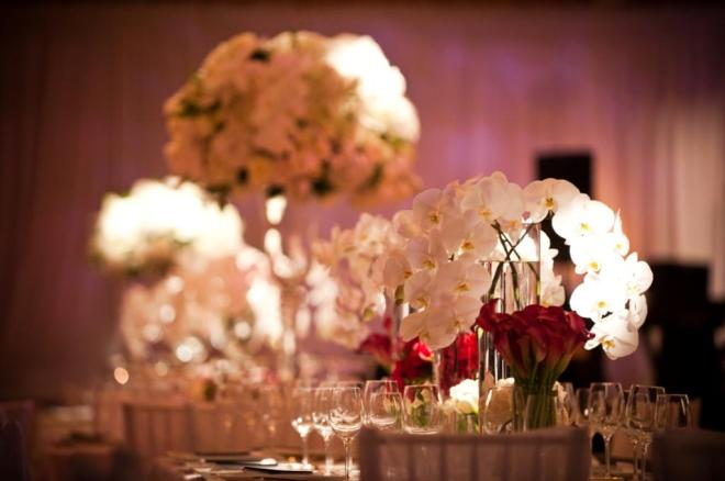 evantine design purple lighting white wedding