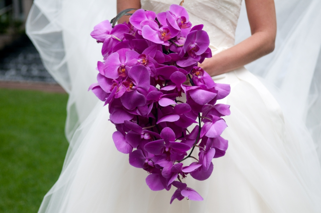 Wedding Dress Style Wedding Bouquets Purple Colored Flowers