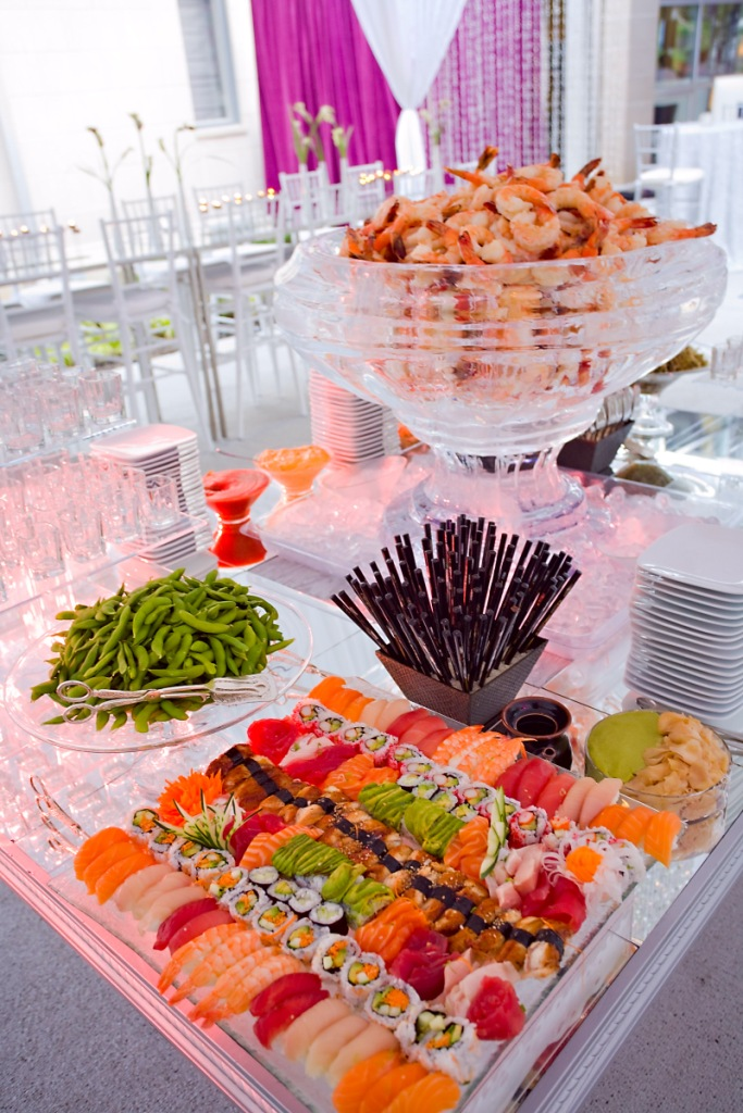 Taste sushi bars always a popular food station at for Food bars for weddings