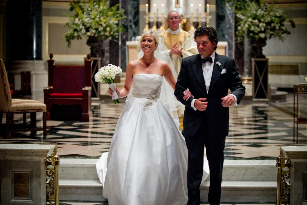 Real stories a gorgeous white and hot pink catholic for Dress after wedding ceremony