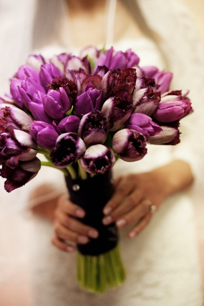 contemporary bridal bouquets purple fringe tulips