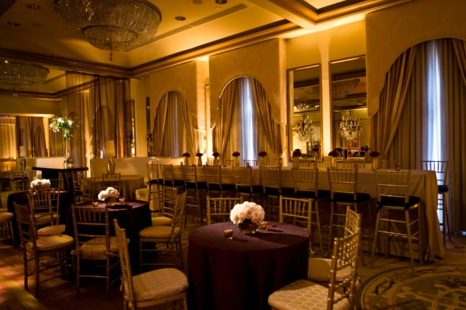 Gold and Red Wedding Lounge Rittenhouse hotel Evantine Design