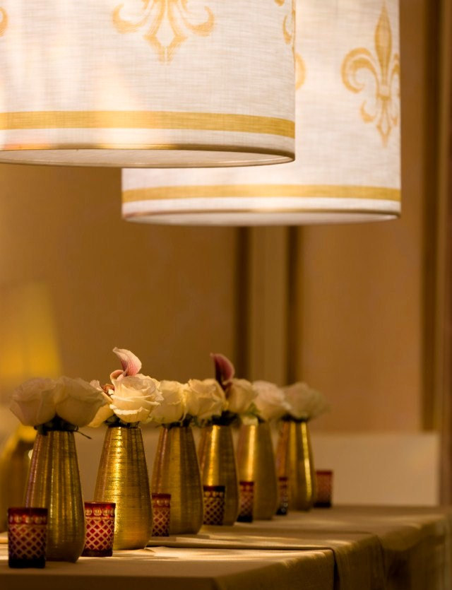 Gold Fleur de Lis Lampshades Community Table Rittenhouse Hotel Evantine Design