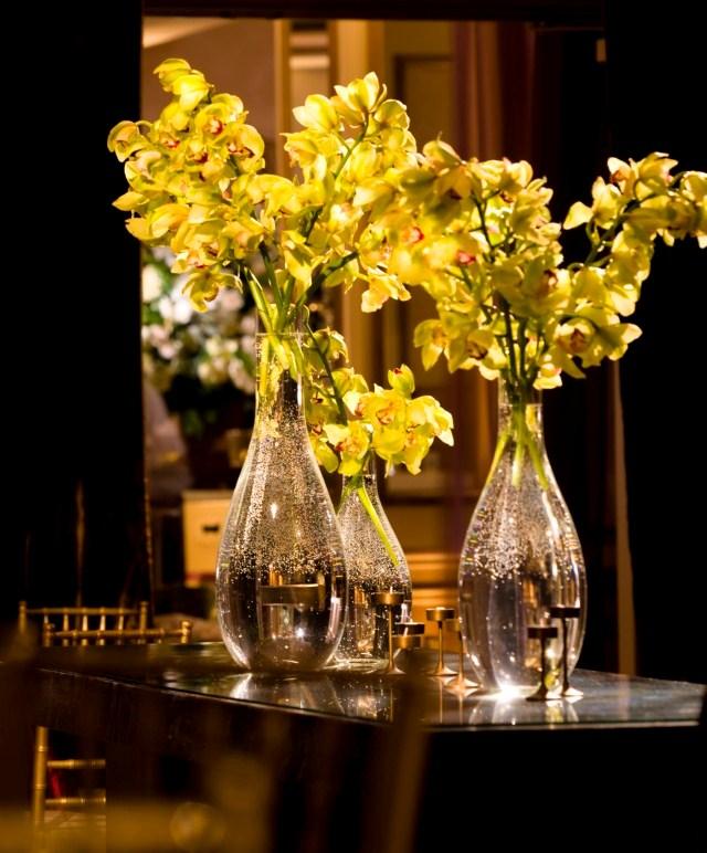 Green Cymbidium Orchids Gold and Red Wedding Decor Philadelphia