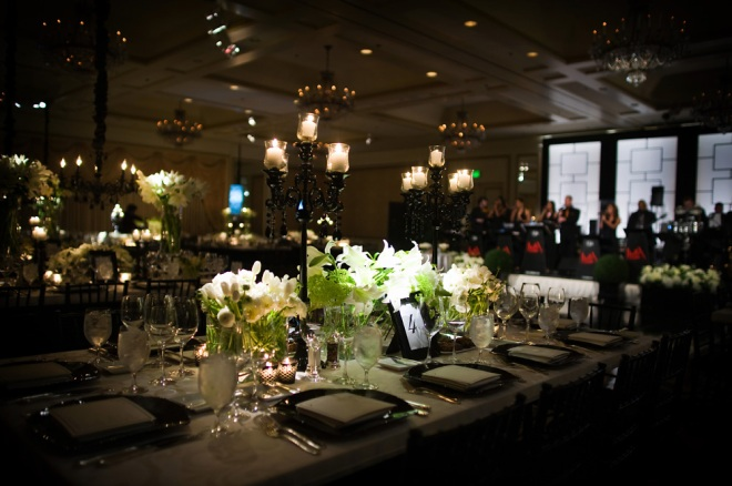modern black and white ballroom wedding black chandeliers