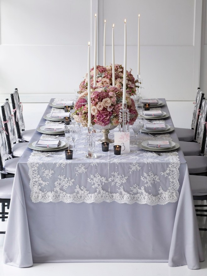pink gray vintage lace table runner the knot evantine design