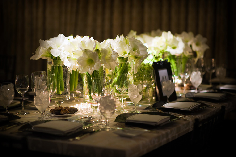 white amaryllis cut glass vases black and white weddings
