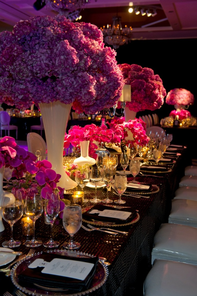 Black & White Dramatic Bat Mitzvah Chanel Inspired Magenta Orchids Melissa Paul Evantine Design