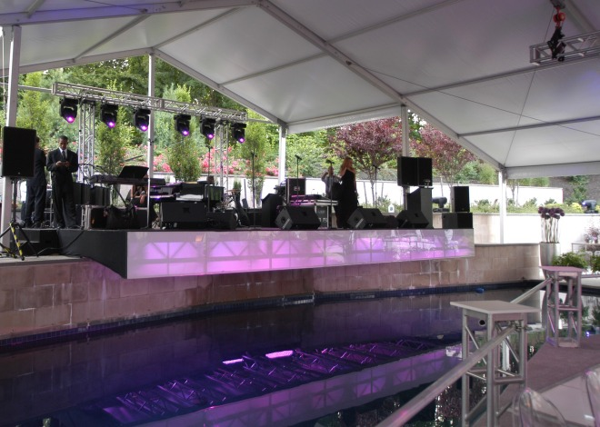 Cantilevered Stage Built Over a Pool Evantine Design EventQuip