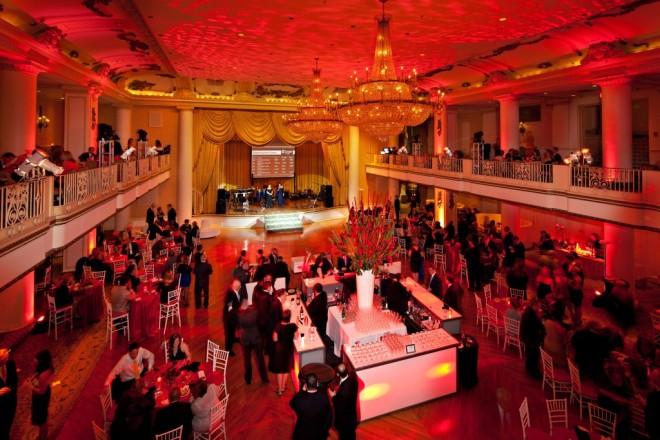 four sided bar red lighting cooper hospital charity gala hyatt at the bellevue