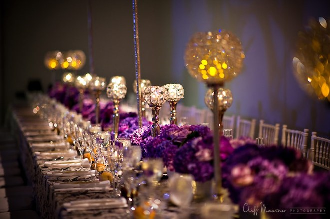 long tables with purple flowers philadelphia weddings evantine design