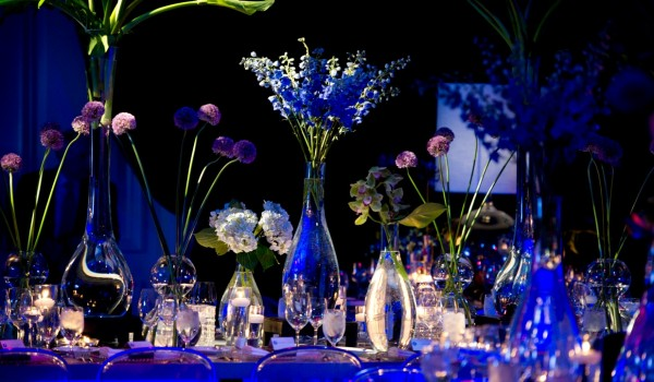 Purple Flowers Light Up Blue tables Evantine Design Four Seasons Hotels Mitzvahs