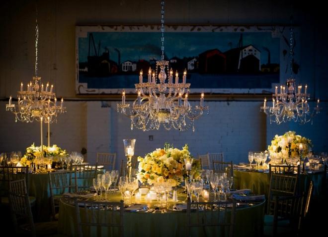 Crystal Chandeliers Loft Weddings Philadelphia Brides Yellow Event Decor