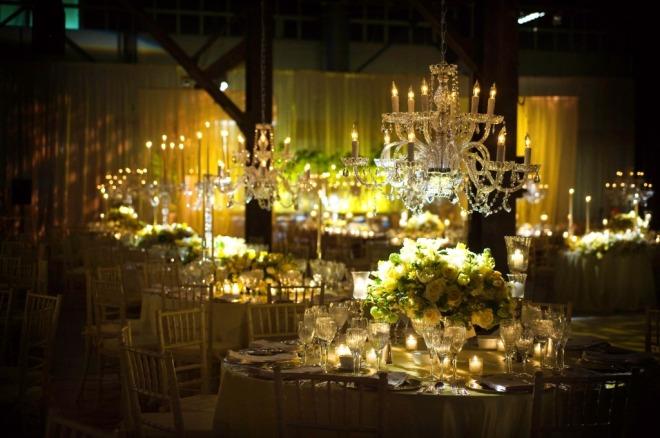 Glamorous Crystal Chandeliers Yellow Centerpieces Romantic Weddings Philadelphia