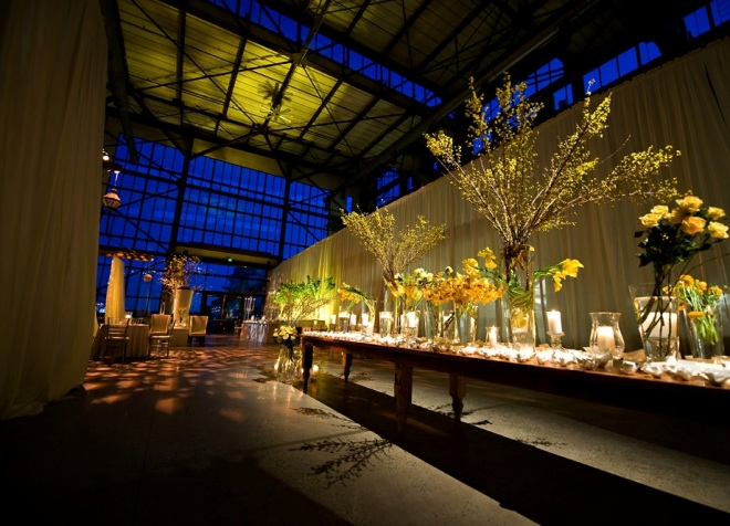long placecard table flowering yellow branches loft weddings philadelphia