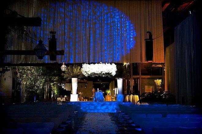 Weddings with Blue Lighting Suspended Chuppahs Evantine Design