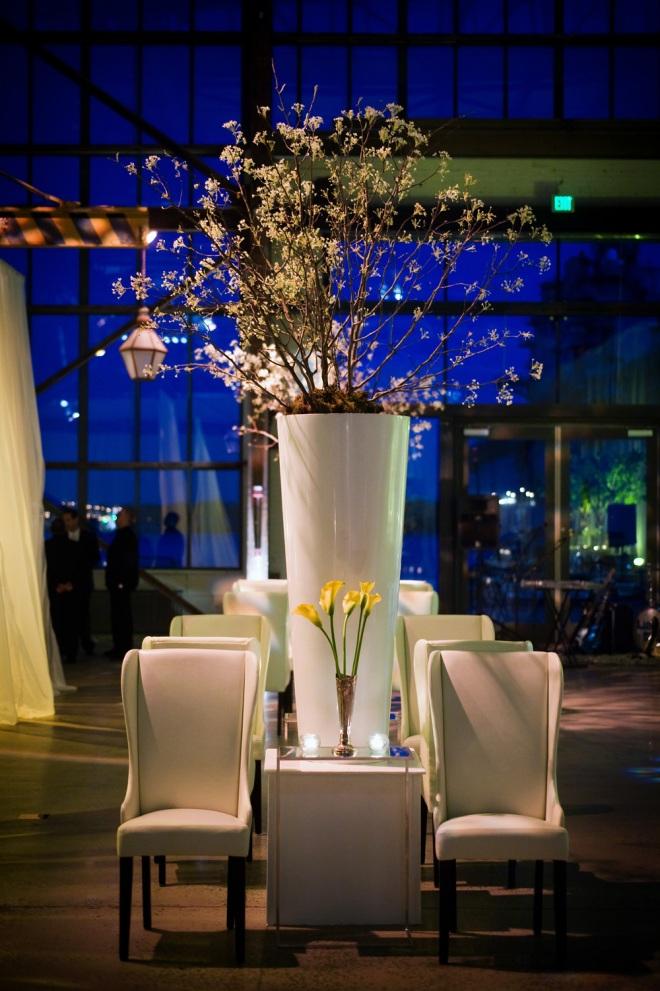 White Lounges Philadelphia Wedding Designers Flowering Branches