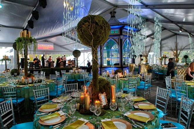 Ballroom Tent Aqua Blue Gold and Moss Green Ball on the Square Philadelphia Events
