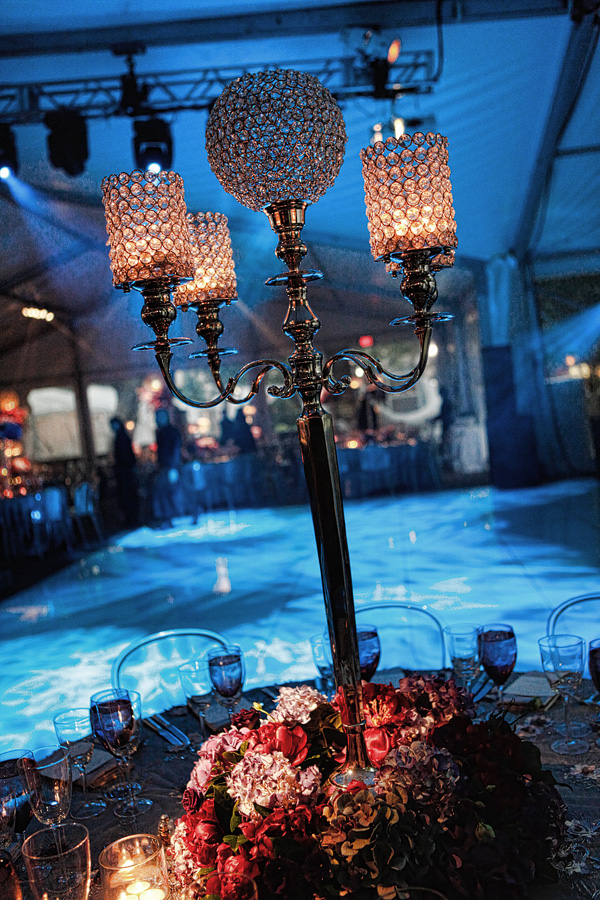 Blue Lighting Party Design Crystal Lamps Clear Lucite Chairs White Dancefloor