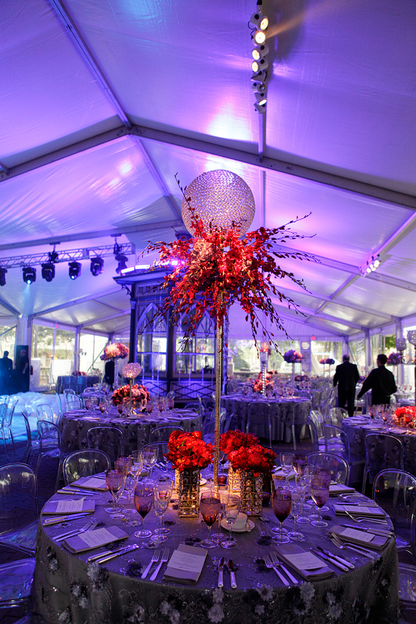 Crystal Ball Event Design Purple Flowers Silver Linens Philadelphia Party Planners