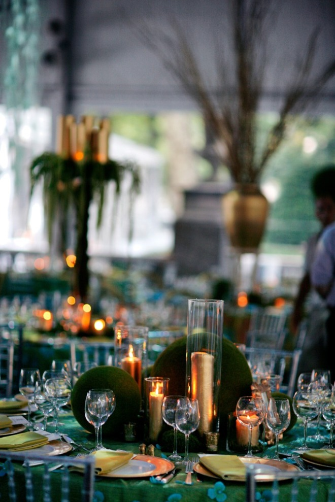 Dinner Table Settings Moss Gold Candles Aqua Blue Linens Event Planners Philadelphia Tents