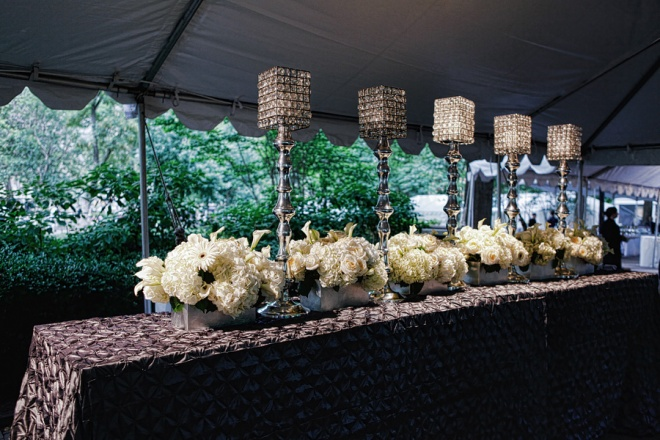 Entrance Tent Decor Pewter Linens Crystal Lamps White Flowers Philadelphia Party Planners