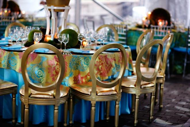 Gold Lucite Pop Chairs Luxury Events Blue Satin Linens Philadelphia Event Designers Evantine Design