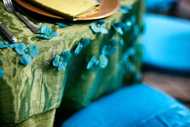 Moss Green and Aqua Blue Organza Linens Event Designers Philadelphia Tented Parties