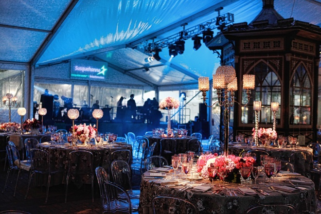 Party Tents Orchestra Stages Crystal Lamps Clear Lucite Chairs Purple Flowers