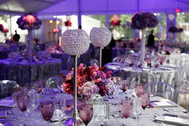 purple and silver event design crystals hydrangea purple lighting