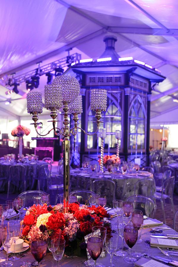 Purple Event Lighting Crystal Centerpieces Bling Candlestick holders purple flowers gala design