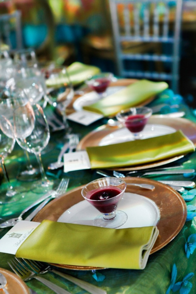 Table Settings Green Satin Napkins Gold Chargers Green and Blue Embroidered Linens Philadelphia Gala Events