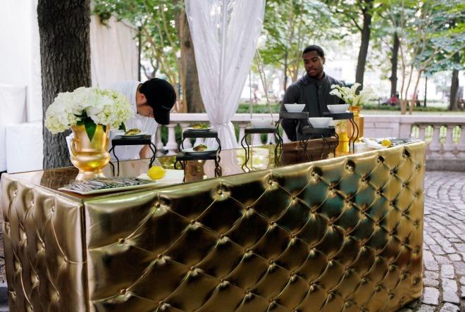 Tufted Metallic Gold Bars Luxury Event Rental Philadelphia Event Designers