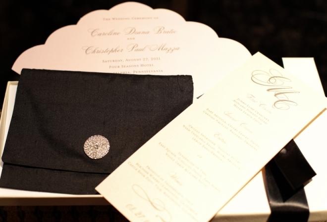 black and white wedding invitations menus program fans papery of philadelphia luxury weddings
