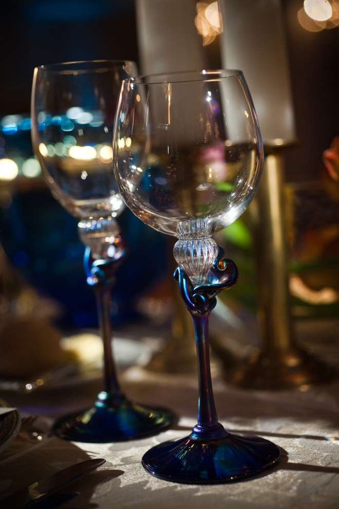 bridal stemware handblown blue glass made by the groom
