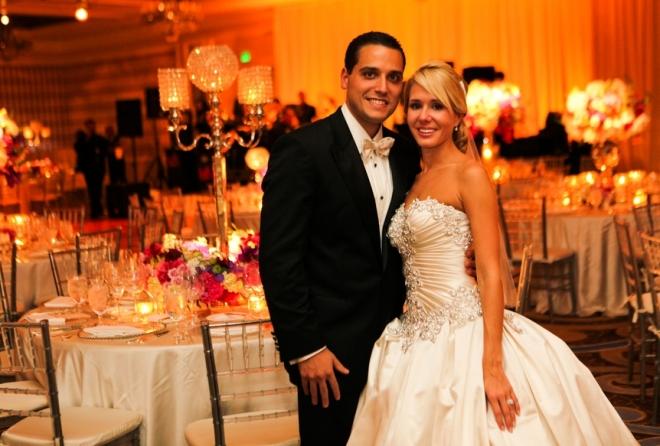 bride and groom in four seasons hotel philadelphia evantine design weddings