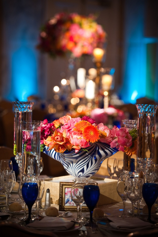 centerpieces blown glass Ritz Carlton weddings summer flowers